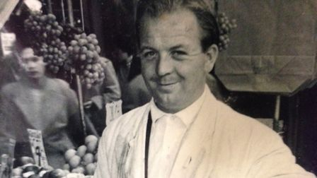 Larry Julian's father Billy on Ridley Road. A young Larry began working on his fruit stall as a boy.