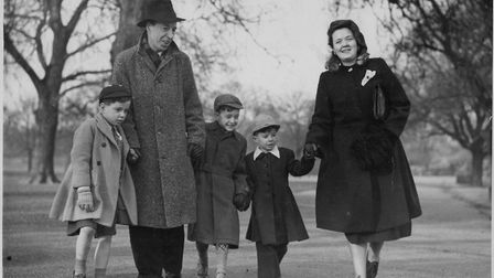 Nora and John Murray with their sons in Regent's Park, 1950
