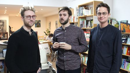 Will Rees (left), Jake Franklin and Sam Fisher who are launching the publishing company. Picture: Fe