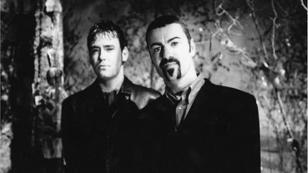 Toby Bourke with George Michael in the 1990s. Picture: TOBY BOURKE