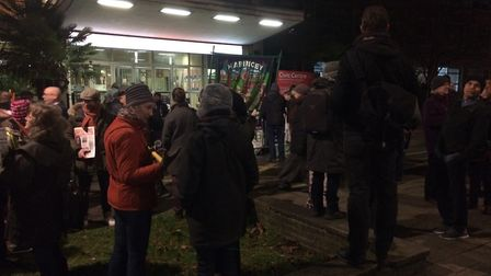 Members of the public gathered outside the Civic Centre on Monday night. In the meeting shouts of 'W