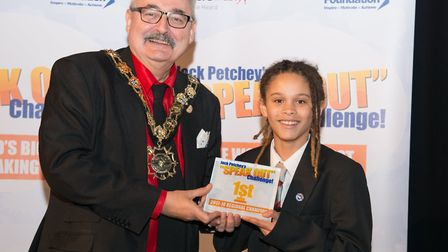 Jaidyn Sommers, of Hampstead School, took home the top prize in the Camden 'speak out' challenge. Ph