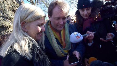 Ham&High editor Emily Banks and Richard Ratcliffe talk to Nazanin on the phone during the rally. Pic