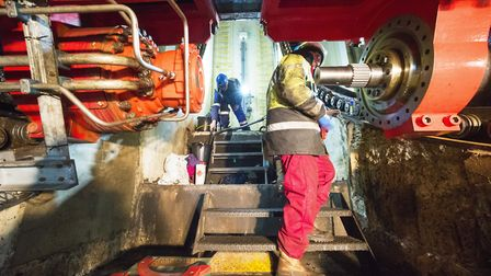 Work is carried out to replace the lifting mechanisms of the Lowestoft Bascule Bridge.Picture: Nick