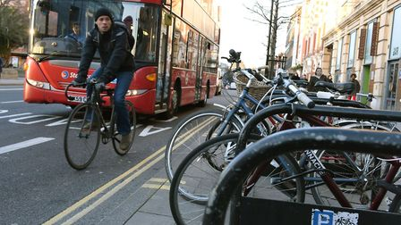 A protected two-way cycle lane would be built in Mare Street under the proposals. Pictured, the exis