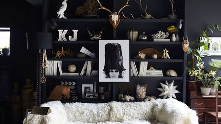 Walls and shelves used to display quirky accessories and striking art, with mounted antlers and lush
