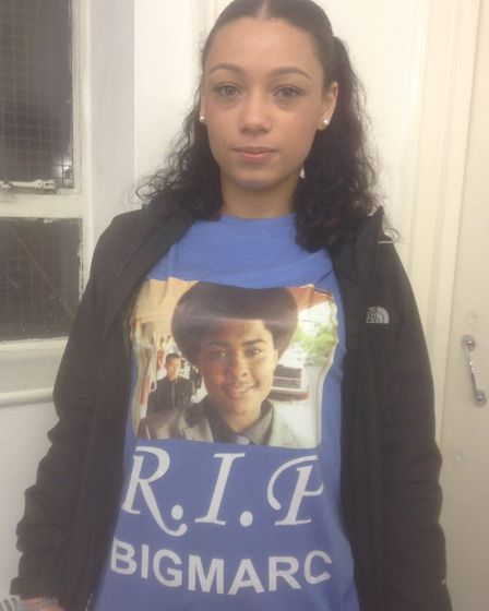 Tatum Defreitas wearing a t-shirt with a photo of Marcel. Picture: Emma Bartholomew