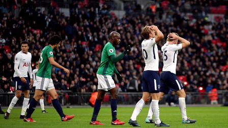 Tottenham Hotspur's Harry Kane reacts to a missed chance during the Premier League match at Wembley