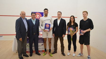 Former world number two Hiddy Jahan (far, left) with The London Open Squash 2017 Championships tourn