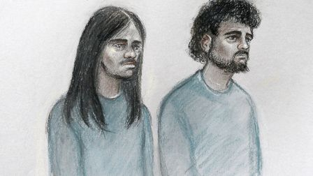 Court artist sketch by Elizabeth Cook of Naa'imur Zakariyah Rahman (left) and Mohammed Aqib Imran in