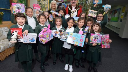 Mayor of Camden Cllr Richard Cotton visits The Cavendish School students collect charity toy donatio