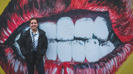 Students from Hackney New School have been creating artworks on the hoardings around the Hackney New