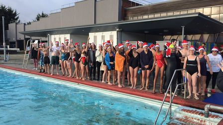 Swimmers line up before taking the plunge at Park Road Lido in last year's Christmas Day dip. Pictur