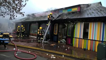 Firefighters are trying to get the blaze at London Zoo under control. Picture: London Fire Brigade
