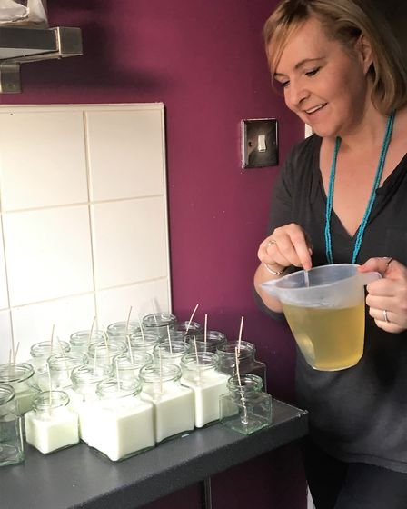 Caroline Buckley making her candles. Picture: House of Buckley