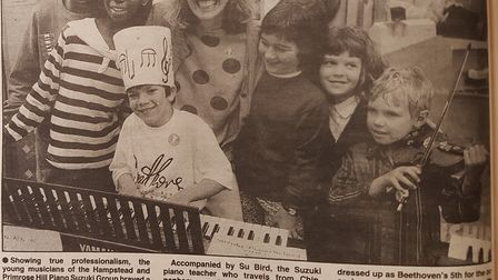 Daniel Chandler appeared in the Ham&High in 1992 aged 6 as a young violin player (right)