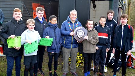 Lowestoft & District Scouts cross country competition. The U14 presentation with District Commission