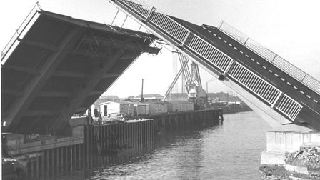 Lowestoft's double-bascule bridge being tested in February 1972 for the official opening on March 2