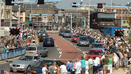 Crowds waiting along the Bascule Bridge in Lowestoft for the Eastern Lights Cavalcade in 2008. Pictu