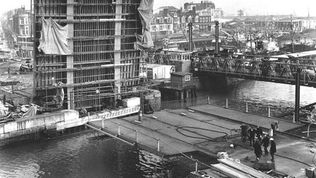 The 50 ft span of Lowestoft's Double Bascule Bridge across the harbour channel when it was lowered f