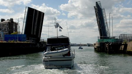 Boats make their way under the open Bascule Bridge at Lowestoft in 2008. Picture: Denise Bradley