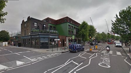 The junction of Harmood Street and Chalk Farm Road, where the theft took place