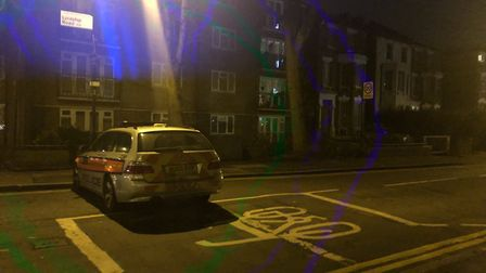 Police at Lordship Road in Stoke Newington after the shooting. Picture: @999London/Twitter