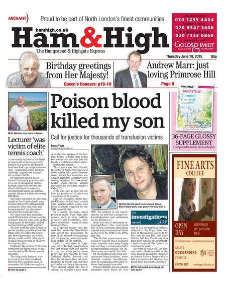 Poison blood killed my son - Ham&High coverage of the contaminated blood scandal