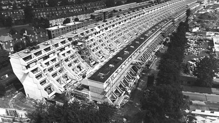 Alexandra Road Estate under construction. Designed in 1968 by Neave Brown of Camden Council's Archit