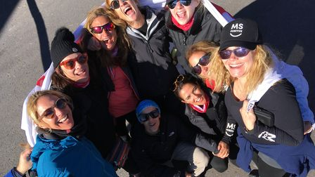 The MS Positive team who climbed Mount Etna in Sicily for charity.