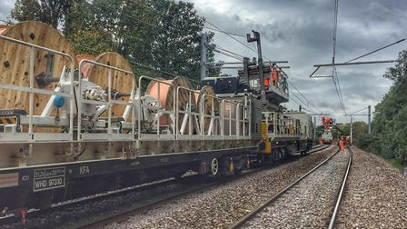 Electric wires have been installed in preparation for the new trains. Picture: Network Rail