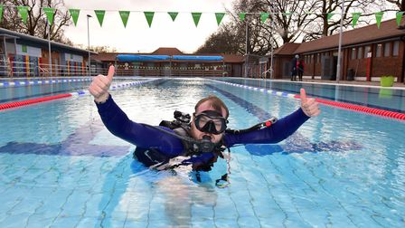 Conducting final checks at London Fields Lido ahead of today's reopening, Danny Parkinson from Unive