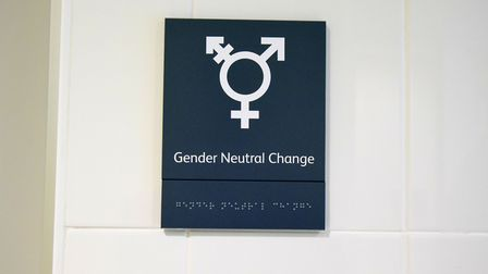The gender neutral changing room at London Fields Lido, which reopens to the public tomorrow. Pictur