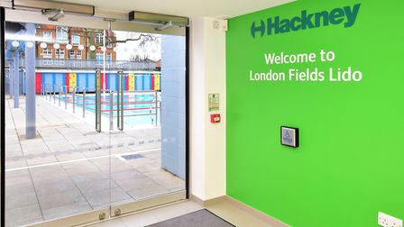 Refurbished reception area at London Fields Lido, which reopens to the public tomorrow. Picture: Pol