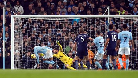 Manchester City's Ilkay Gundogan scores his side's first goal of the game during their Premier Leagu