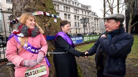 Andrew Dismore, London Assembly member for Barnet and Camden shakes hands with campaigners Jo Hurfor