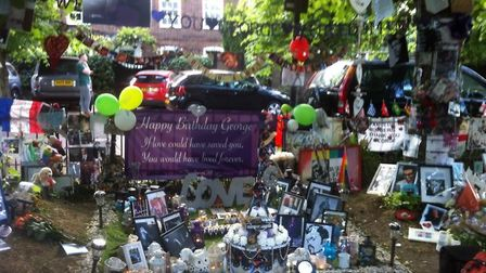Birthday tributes to George Michael left by fans in The Grove, Highgate. Picture: @sparkle-chica
