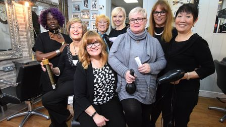 Clapton Beauty Parlour staff including owner Dawn (centre front) and former owner Marcia (second lef