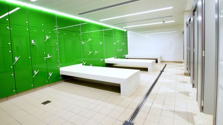 Refurbished indoor changing area at London Fields Lido. Picture: Polly Hancock