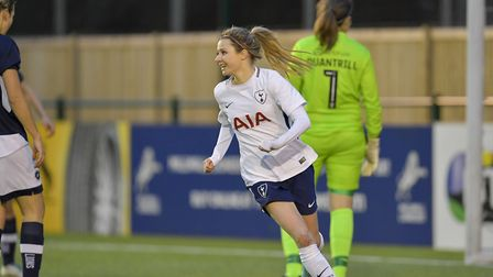 Sarah Wiltshire celebrates equalising for Tottenham Hotspur Ladies at the Milllwall Lionesses in the
