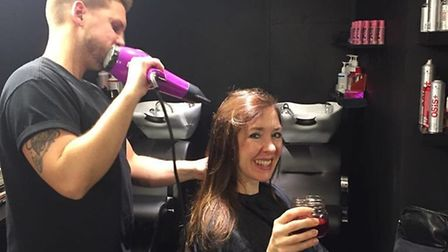 Tom cuts Emma's hair at Blade Hairclub, as she knocks back a mulled wine