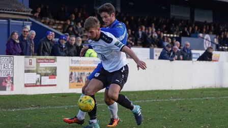Matthew Foy, on loan from Cambridge United, on his Lowestoft debut. Picture: Shirley D Whitlow.