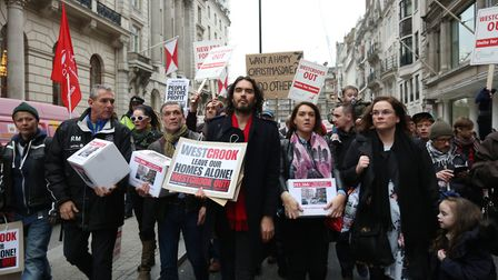 Russell Brand leads demonstration towards Downing Street against the house price rising in the New E