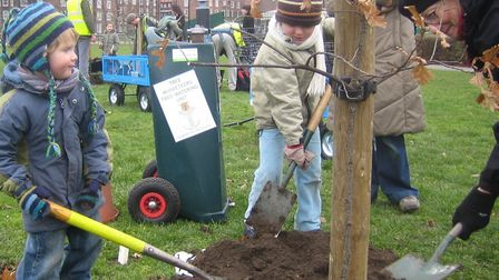 Children planting an oak on Downs with Bay 2006. Picture: Tree Musketeers