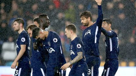 Tottenham Hotspur's Fernando Llorente (second, right) celebrates scoring his side's first goal of th