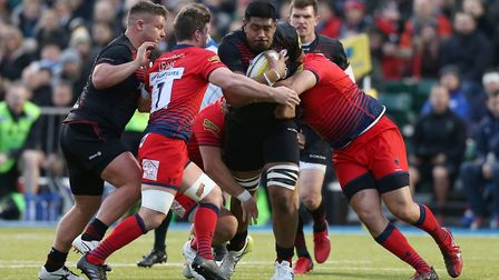 Saracens' Will Skelton attacks against Worcester at Allianz Park (pic Paul Harding/PA)