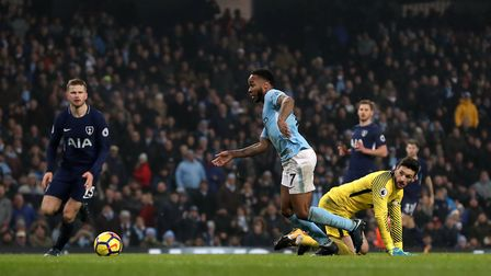 Manchester City's Raheem Sterling scores his side's fourth goal of the game during their Premier Lea