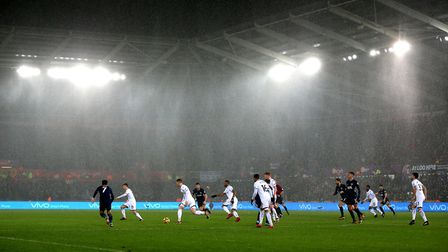 A general view of the match action during the Premier League match at the Liberty Stadium between Sw