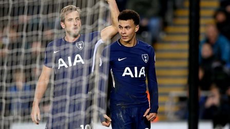 Tottenham Hotspur's Dele Alli (right) is congratulated by Harry Kane after scoring his side's second