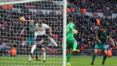 Tottenham Hotspur's Harry Kane (second left) scores his side's first goal against Southampton (pic S
